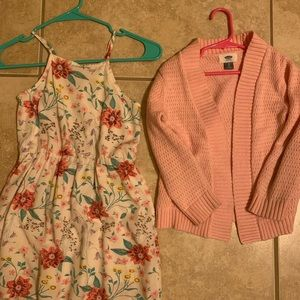 Old navy dress size S 6/7  & sweater 5t
